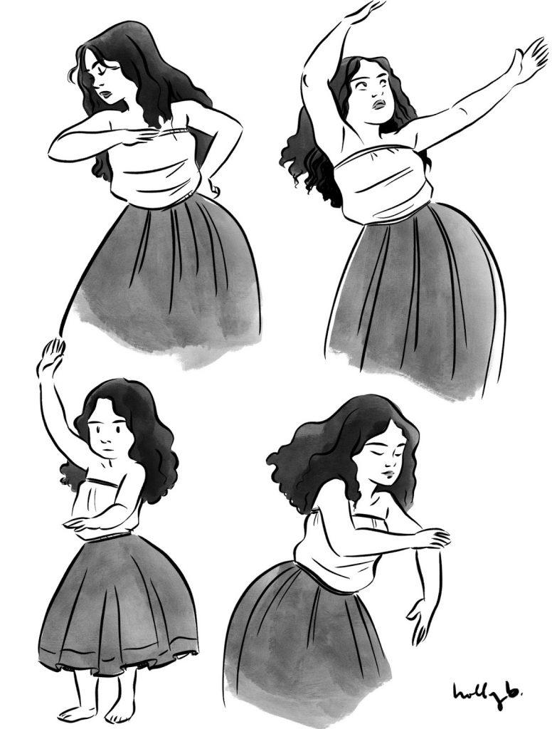 illustration of hula dancers