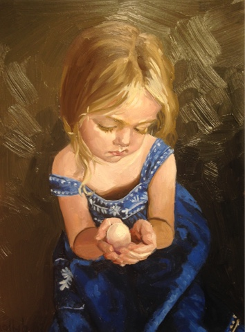 painting of child with egg